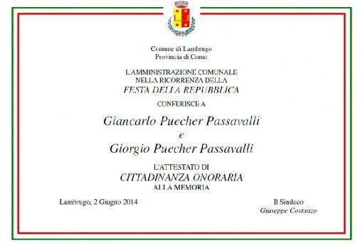 Cittadinanza Puecher Lambrugo 2 giugno 2014 (pergamena)