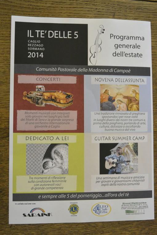 Programma il te delle 5 caglio rezzago sormano luglio agosto 2014 comunia pastorale madonna di campoe (1)